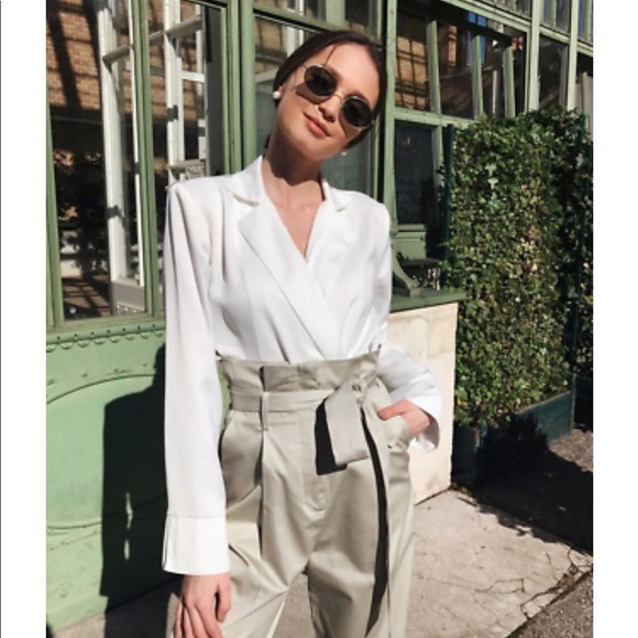 0b7687ca NWT Zara White Bodysuit with Lapel Collar NWT